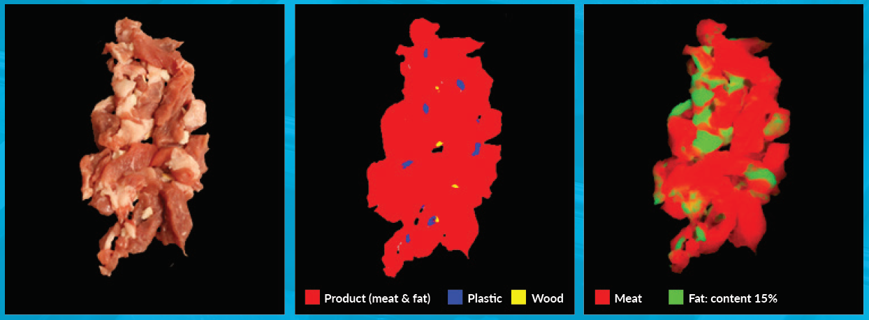 Sorting contaminants and fat based on hyperspectral data.