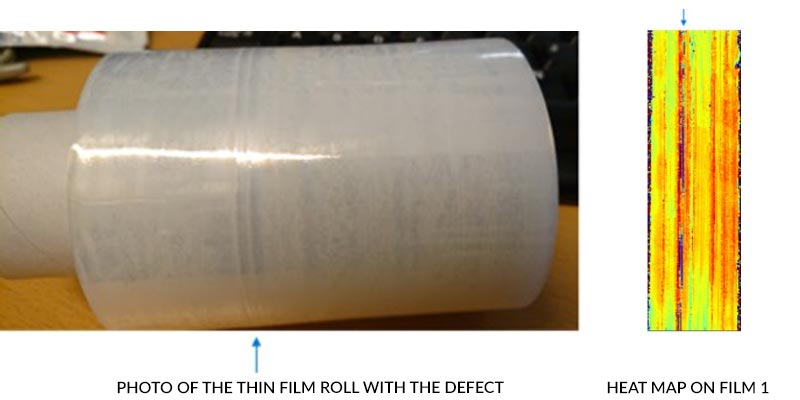 Picture of the thin film roll with the defect.