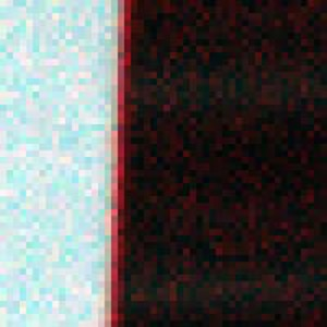 Figure 4: effect of keystone on a sharp paper edge. Red, Green, and blue channels were allocated to 900, 550, and 450 nm, respectively.